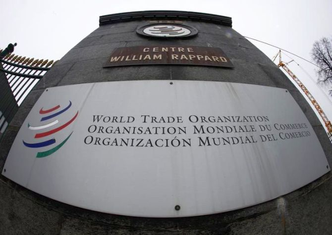 The World Trade Organization WTO logo is seen at the entrance of the WTO headquarters in Geneva.