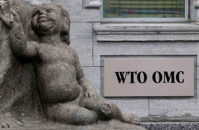 The World Trade Organization WTO sign is seen at the entrance of the WTO headquarters in Geneva.