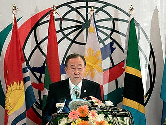 United Nations Secretary-General Ban Ki-moon talks during the international conference on climate change in Dhaka. in 2011