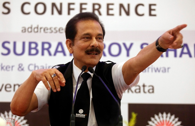 Sahara Group Chairman Subrata Roy gestures as he speaks during a news conference in Kolkata.
