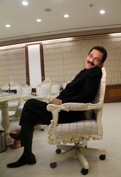 Sahara Group Chairman Subrata Roy poses for a photograph after an interview with Reuters at his office in Lucknow.