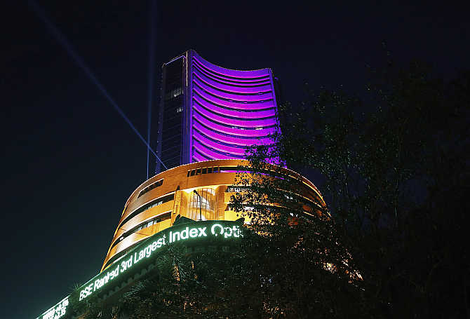 Bombay Stock Exchange building is illuminated during the Diwali special trading session.