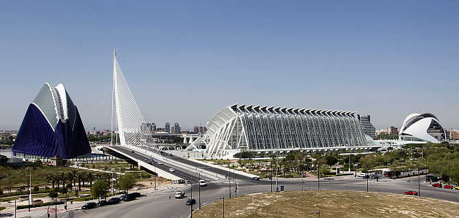 A panoramic view of the City of Arts and Sciences in Valencia, Spain.