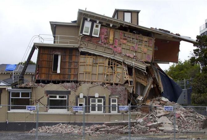 A damaged backpackers hostel is seen after an earthquake in central Christchurch.