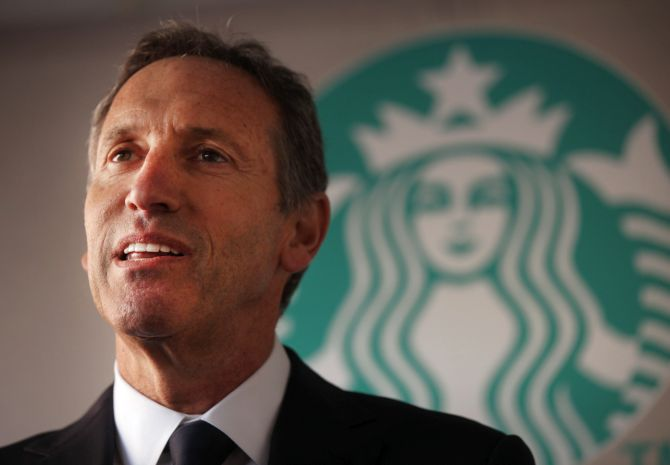 Starbucks CEO Howard Schultz speaks at an event.