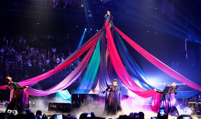 Singer Katy Perry performs during the 2013 MTV Europe Music Awards at the Ziggo Dome in Amsterdam.