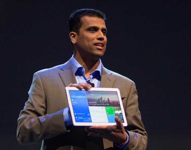 Nanda Ramachandran, vice president of Samsung Telecommunications America, holds up a Galaxy Tab Pro tablet during the Consumer Electronics Show (CES), in Las Vegas, Nevada, January 6, 2014.