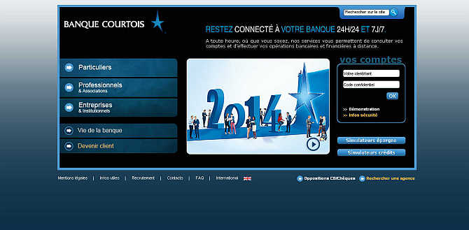 Homepage of Banque Courtois website.