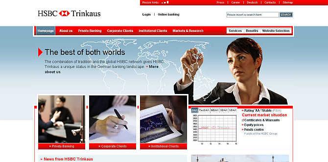 Homepage of Trinkaus & Burkhardt website.