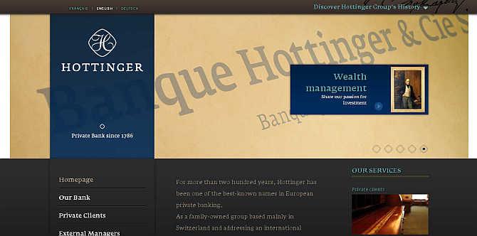 Homepage of Hottinger & Cie website.