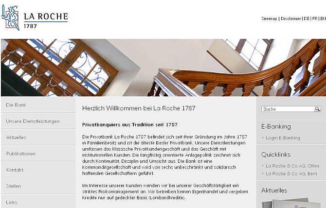 Homepage of La Roche & Co website.