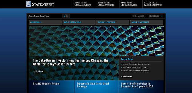 Homepage of State Street website.