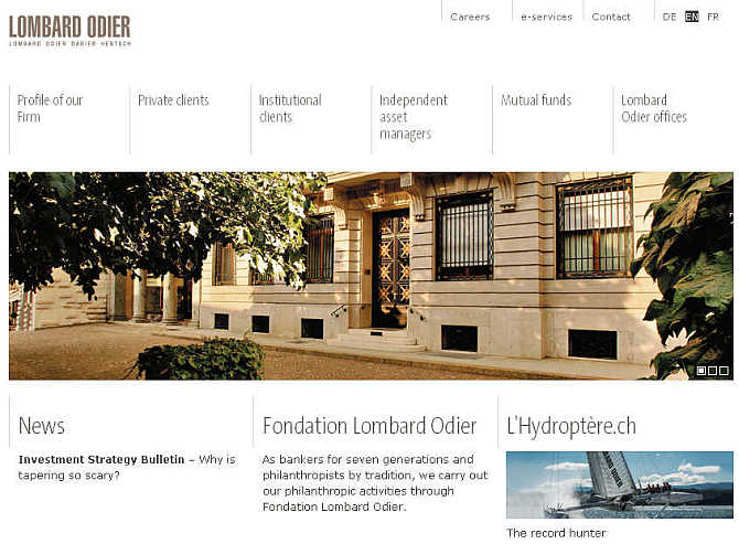 Homepage of Lombard Odier & Cie website.