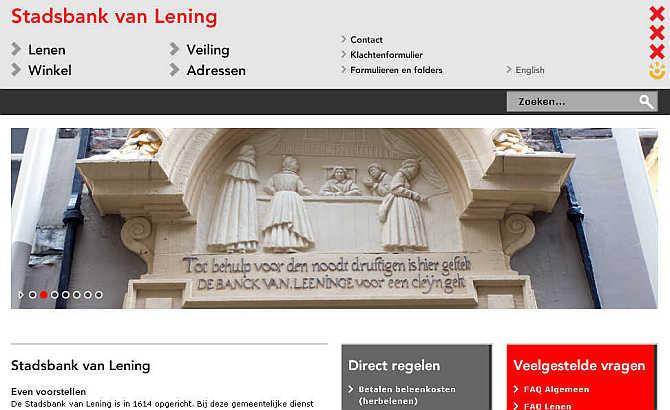 Homepage of Stadsbank van Lening website.