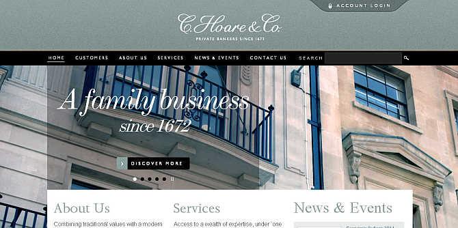 Homepage of C Hoare & Co's website.