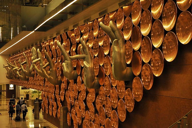 Nine Mudras by Ayush Kasliwal at the T3 Terminal Indira Gandhi International Airport, Delhi.