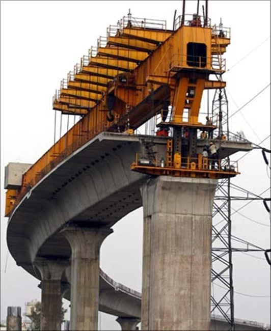 Construction work on the Mumbai Metro line.