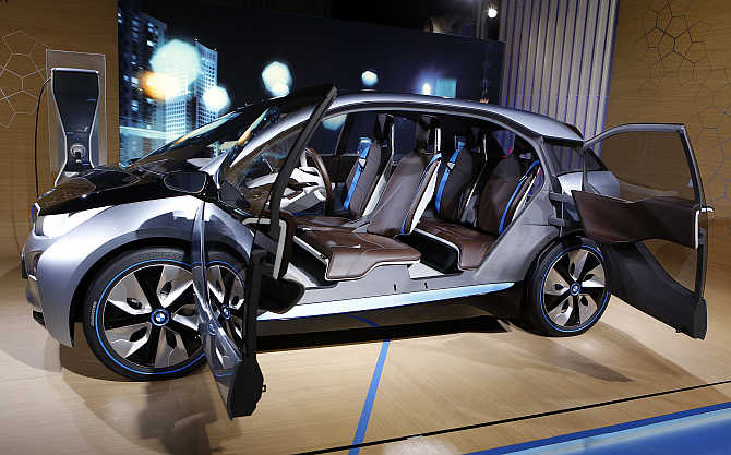 BMW i3 Concept electric car on display in New York.