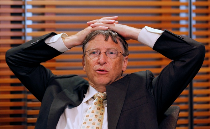 Microsoft Corporation founder Bill Gates pauses during a news interview at the Bill & Melinda Gates Foundation office in Washington.