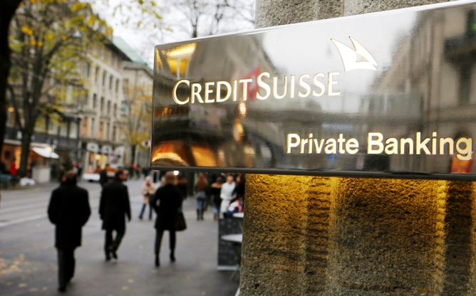 The logo of Swiss bank Credit Suisse is seen in front of a branch office in Zurich.