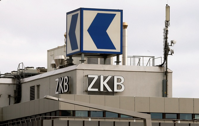 The logo of Swiss Zuercher Kantonalbank (ZKB) is seen at an office building in Zurich.