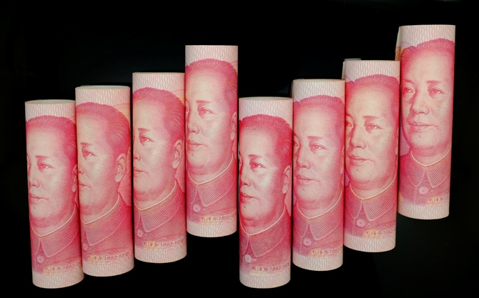 100 Yuan notes are seen in this illustration.