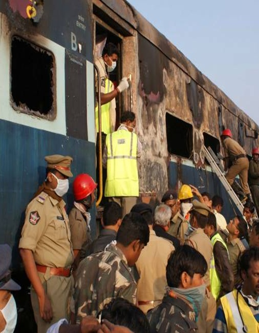 Fire destroys Nanded-Bangalore Express.