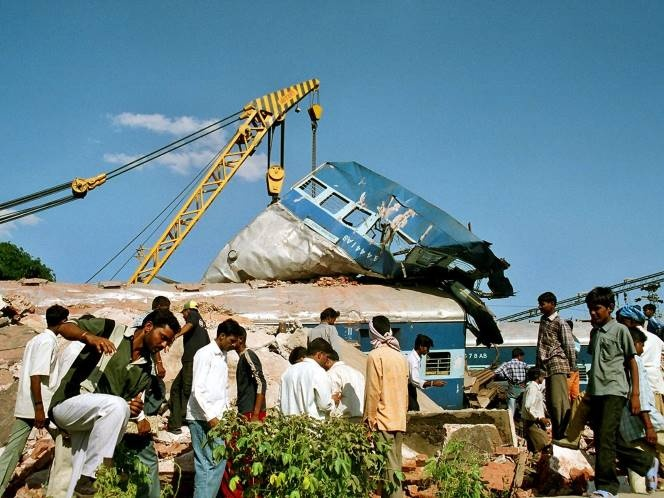 A scene of a railway accident. Photograph: Reuters