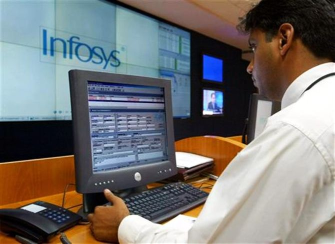 A staff working at Infosys headquarters in Bengaluru.