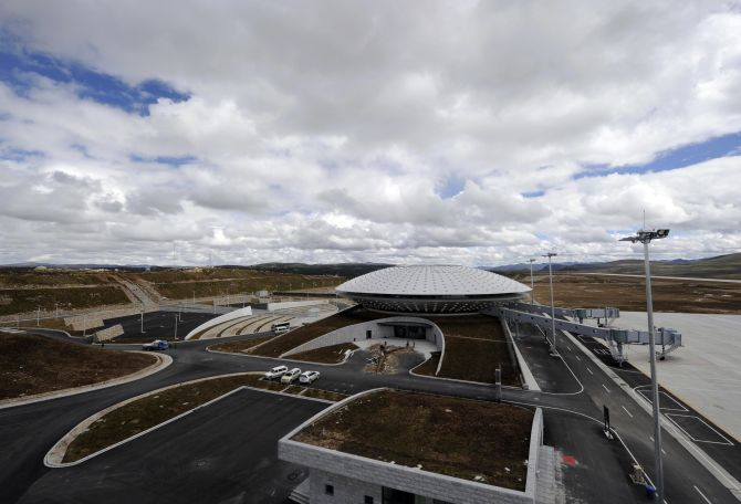 A view shows the Daocheng Yading Airport under construction.