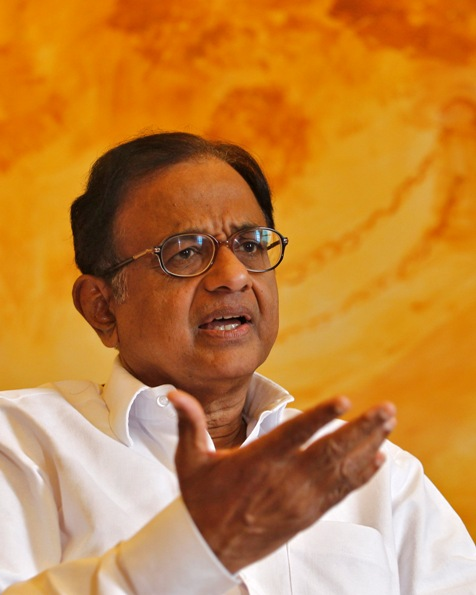 Finance Minister Palaniappan Chidambaram speaks during an interview with Reuters in New Delhi.
