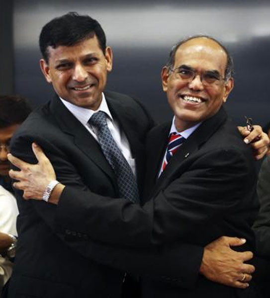 Raghuram Rajan (left), with former governor D Subbarao at RBI's headquarters in Mumbai.