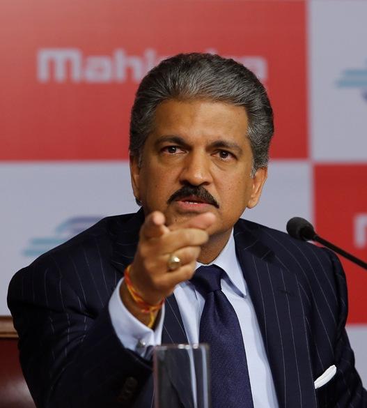 Anand Mahindra, chairman of Mahindra & Mahindra, speaks during a news conference in Mumbai.