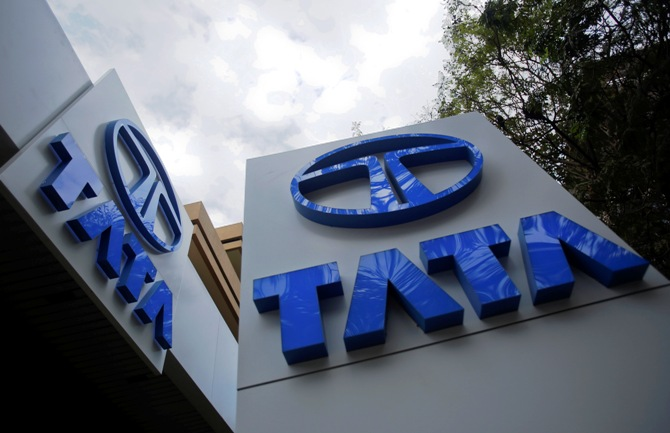 Tata Motors logos are seen at their flagship showroom.