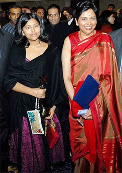 Indra Nooyi with her daughter.