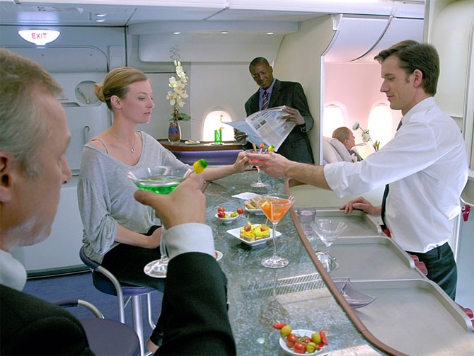 A380 cabin allows space for social areas.