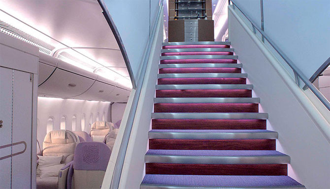 The A380 cabin, with stair case at foreground.