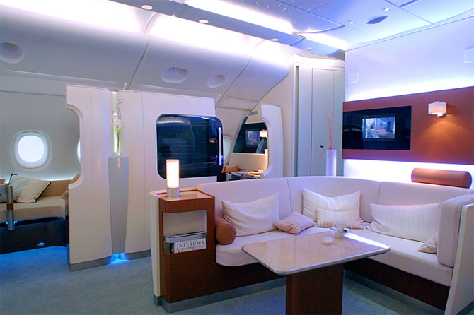 A380 cabin, first class compartments.