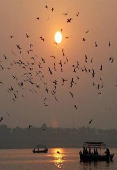 Sun setting over the banks of river Ganges in Allahabad.