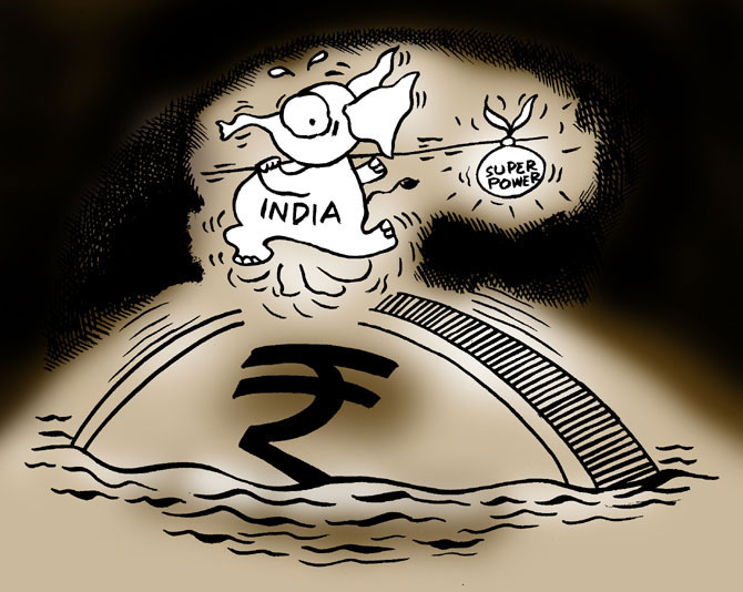 Rupee drops 44 paise to 10-week closing low of 63.10 vs dollar