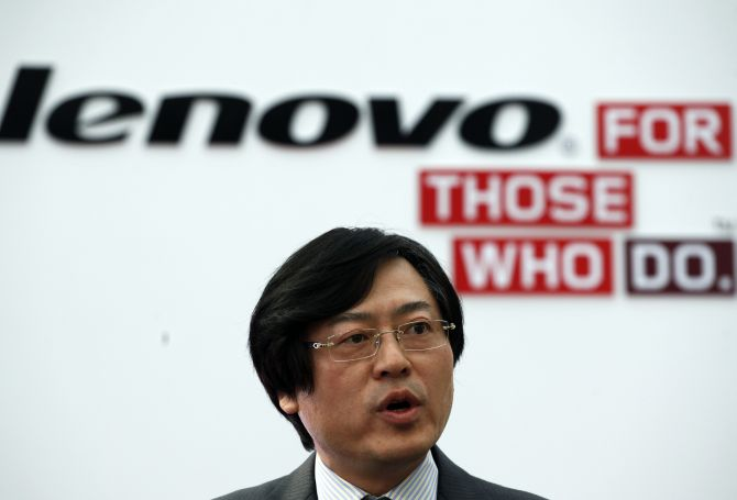 Lenovo CEO Yang Yuanqing attends a news conference in Sao Paulo.