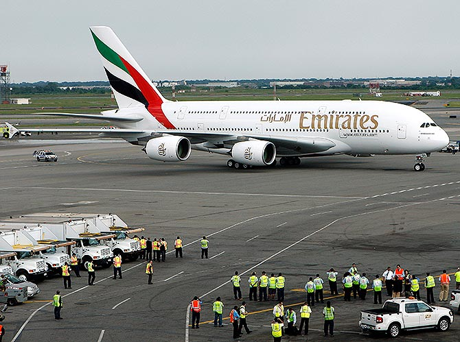 Emirates Airline's Airbus A380 arrives at John F. Kennedy International Airport in New York.