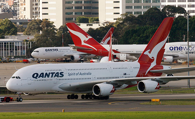 A Qantas A380 arrives at its gate at Kingsford Smith International airport in Sydney.