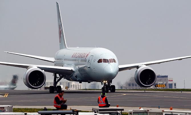 Air Canada's Boeing 787 Dreamliner lands at Pearson International Airport in Toronto.