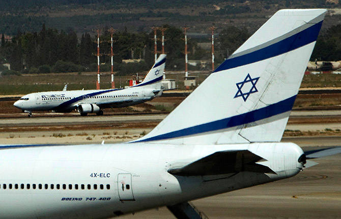 El Al airplanes are seen on the runway at Ben Gurion International airport near Tel Aviv.