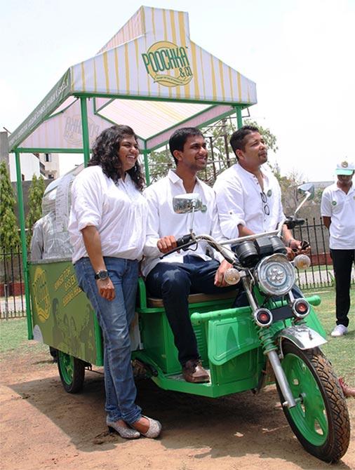 From left to right- Esha Guha, Naman Kandoi and Supratik Guha the three MBA students who have promoted the Poochka & Co.