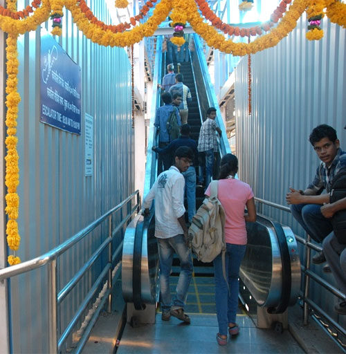 Escalator at Mumbai's Dadar station.