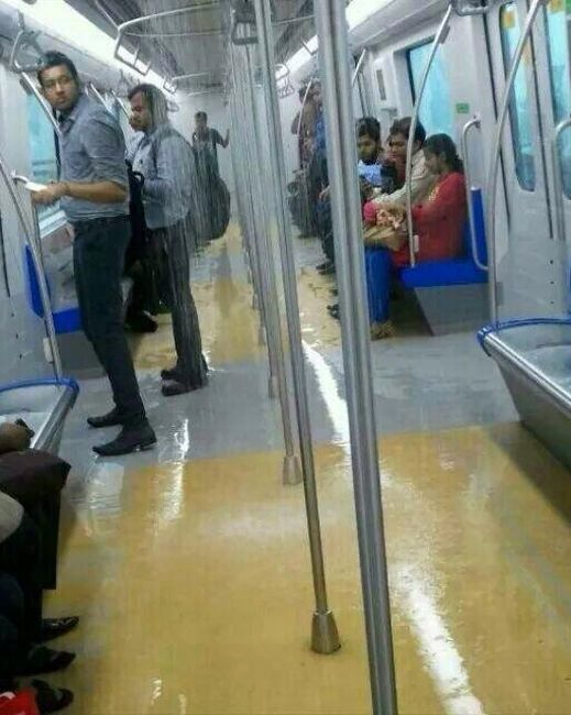 Leaking coach of the Mumbai Metro.