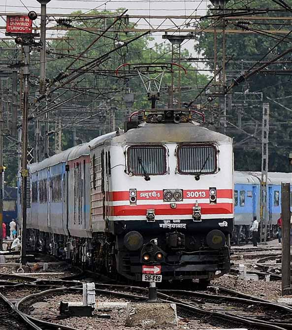 A high speed New Delhi Agra test train leaves New Delhi station.