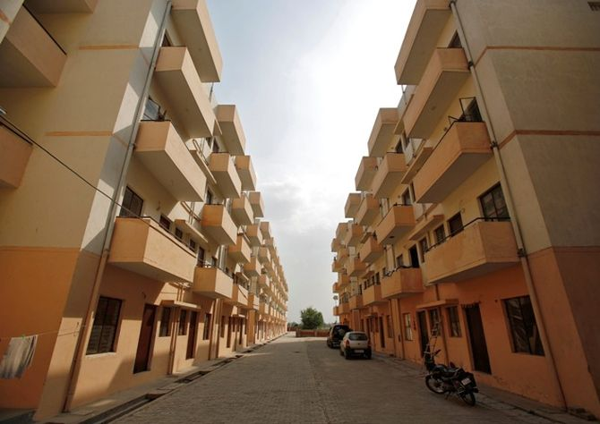 A general view of the Dinesh Nagar housing complex is pictured at Ghaziabad.